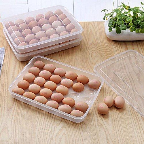 Lautechco 30 Grids Egg Storage Box Food Container Keep Eggs Fresh Refrigerator Organizer Kitchen Storage Containers