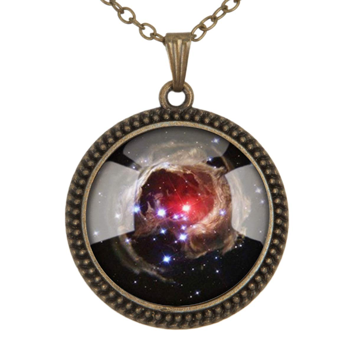 Family Decor Universe Galaxy Space Starry Night Sky Pendant Necklace Cabochon Glass Vintage Bronze Chain Necklace Jewelry Handmade