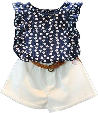 Camisas de Niñas Switchali infantil Bebé Niña sin mangas blusas moda Camisetas algodón shirts para chica muchacha Verano 1 Conjuntos de ropa floral blusa + pantalones cortos + cinturón (100 (2~3años)): Amazon.es: