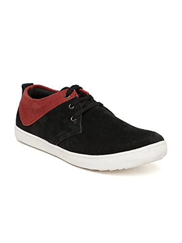 f05f3c4c95e Provogue Men Black & Red Suede Sneakers (9UK): Buy Online at Low ...