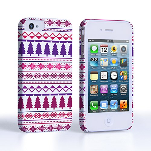 Caseflex iPhone 4 / 4S Case Pink / Purple Christmas Tree Hard Cover