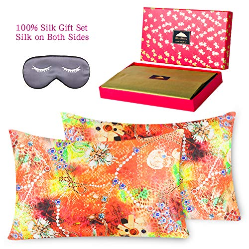 BlueHills 3 Piece Luxury Silk Gift Set 100% Pure Mulberry Natural Soft Silk Pillowcase 2 Pack for Hair and Skin Hidden Zipper & Pure Silk Eye Mask in Gift Box Orange Jewel Patterns,Queen Size, QD004 (Set Gift Jewel Box)