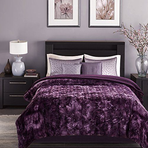 Chanasya Faux Fur Bed Throw Blanket - Super Soft Fuzzy Cozy Warm Fluffy Beautiful Color Variation Print Plush Sherpa Microfiber Dark Purple Blanket (90