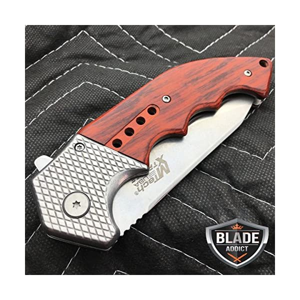 """Only US 9"""" M-TECH STEAM Punk Spring Assisted Open Tactical Folding Pocket Knife Wood New 5"""