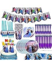 BESLIME 75Pcs Cumpleaños Vajilla, Plato, Servilleta de Papel, Cuchillo, Tenedor, Taza, Mantel, Paja, Adorno de Pastel y Bandera para Letras, Vajilla de Fiesta -Tiene Apacidad para 10 personas