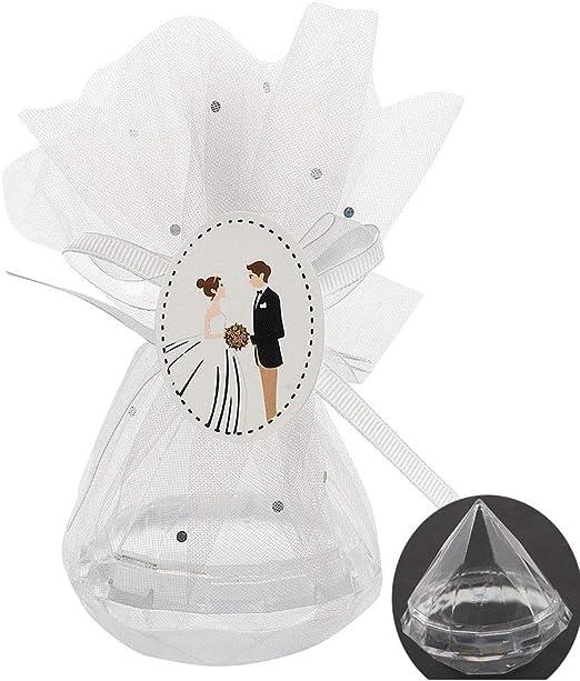 QILICZ - Caja de Regalo para Invitados de Boda, 12 Unidades, Diamante, con Organza y Novio, para almendras de Boda, Dulces, Chocolate, Regalo para Novios: Amazon.es: Juguetes y juegos
