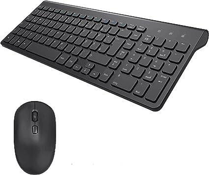 TedGem [2.4G] Conjunto de ratón y teclado, teclado ergonómico USB inalámbrico y receptor USB 2 en 1 para PC, computadora, portátil (diseño alemán ...