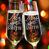 Lily's Atelier Set of 2, Hand Engraved Mr. Mrs. Last Name & Date Custom Wedding Toast Champagne Flute Set, Wedding Toasting Glasses - Etched Flutes for Bride & Groom Customized Wedding Gift #EH4