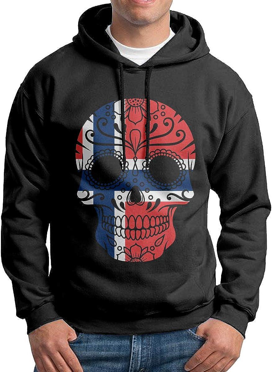 Mens Norway Flag Sugar Skull Patterns Print Athletic Pullover Tops Fashion Sweatshirts