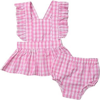 Counjunto de Ropa bebé niña, Subfamily® Camisa a Cuadros con y Volantes sin Mangas, Conjuntos de Ropa Trajes (Tamaño: 6Mes-3Años): Amazon.es: Ropa y accesorios
