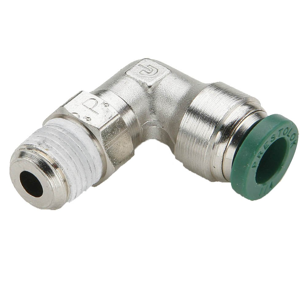 Parker W169PLP-4-1-pk10 Prestolok PLP Push-to-Connect Instant Fitting, Tube to Pipe, Nickel Plated, Push-to-Connect and Male Pipe 90 Degree Elbow Swivel, Brass, 1/4'', 1/16'' (Pack of 10)
