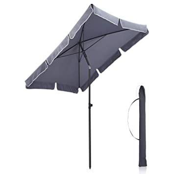 Songmics Parasol Droit Rectangulaire Inclinable 2 X 1 25 M