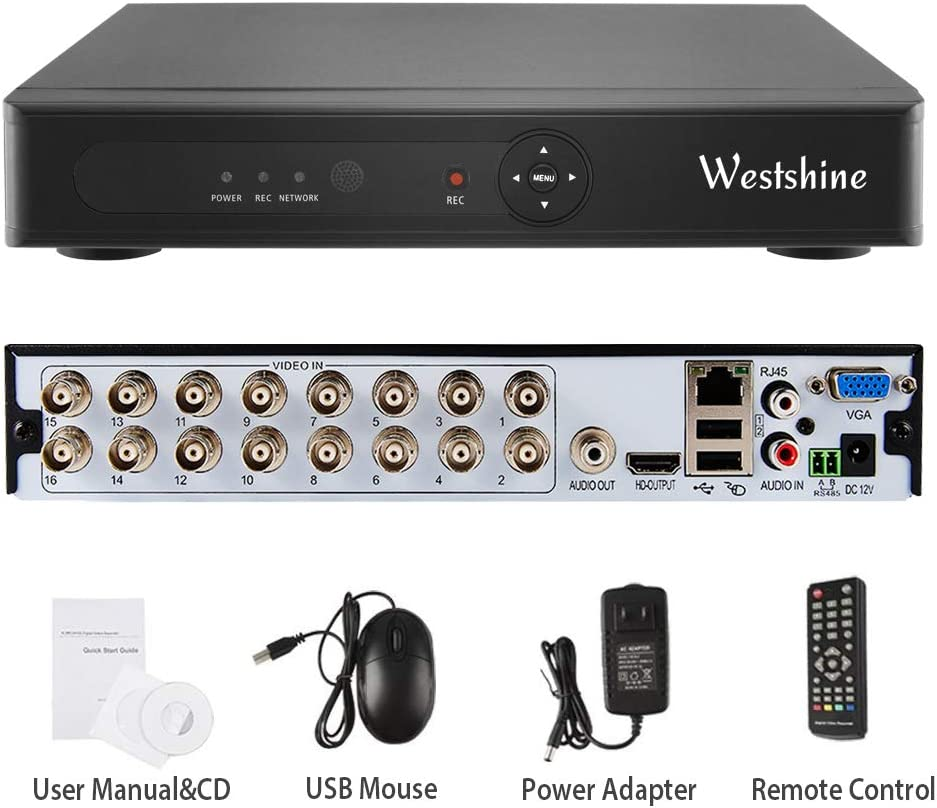 Westshine 16 Channel 1080N DVR,5 in 1 Hybrid (AHD/TVI/CVI/Analog/IP) Home Security System, H.265 HD Surveillance Video Recorder, Support Onvif Motion Detection, Email Alert(NO HDD)(with Controller)