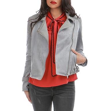 2357051db5c6e La Modeuse - Veste en suédine Style Motard  Amazon.fr  Vêtements et  accessoires
