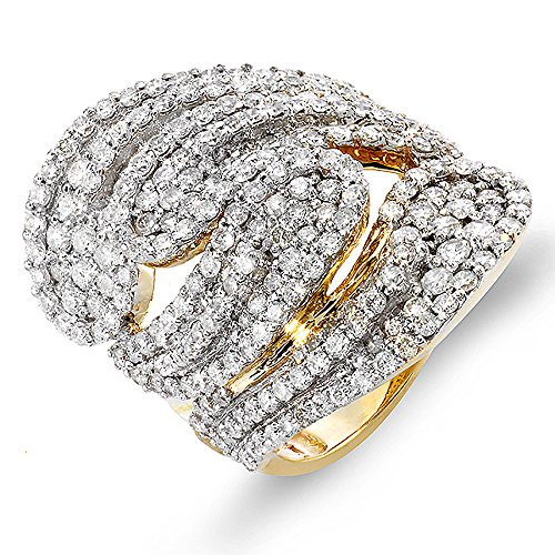 3.00 Carat (ctw) 14K Yellow Gold Round Diamond Ladies Cocktail Ring (Size 7)