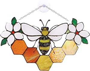Acrylic Suncatcher Bee On Honeycomb, Spring Garden Wind Chimes, Outdoor Indoor Wind Spinner Wall Decorations Garden Decor Gift for Mom, Friends, Home Farmhouse Yard