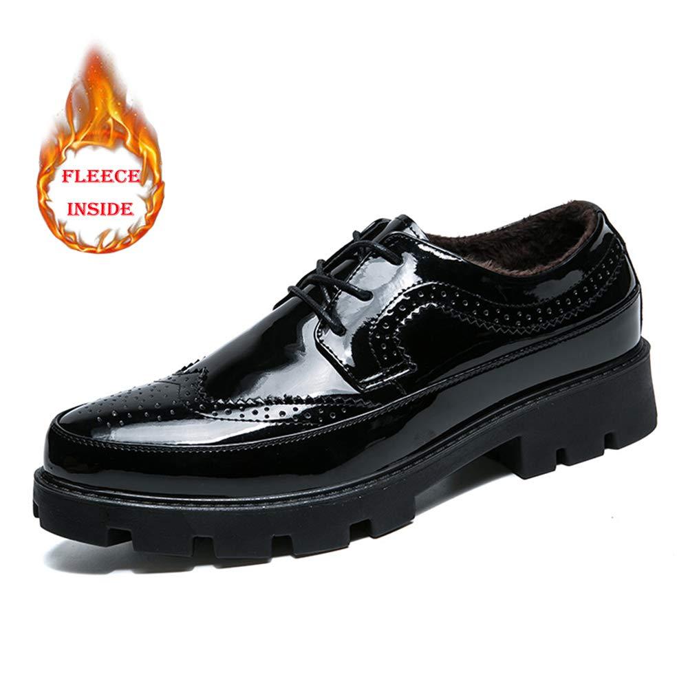 TALLA 38 EU. Jiuyue-shoes, Zapatos Oxford para Hombres de Negocios, Zapatos de Charol de Color sólido con Punta Redonda de Confort clásico,Zapatos Oxford Hombre (Color : Warm Black, tamaño : 38 EU)