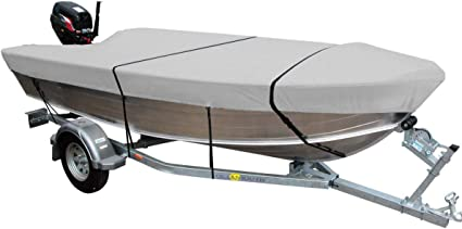 HEAVY DUTY 100/% SOLUTION DYED POLYESTER V-HULL FISHING BOAT COVER