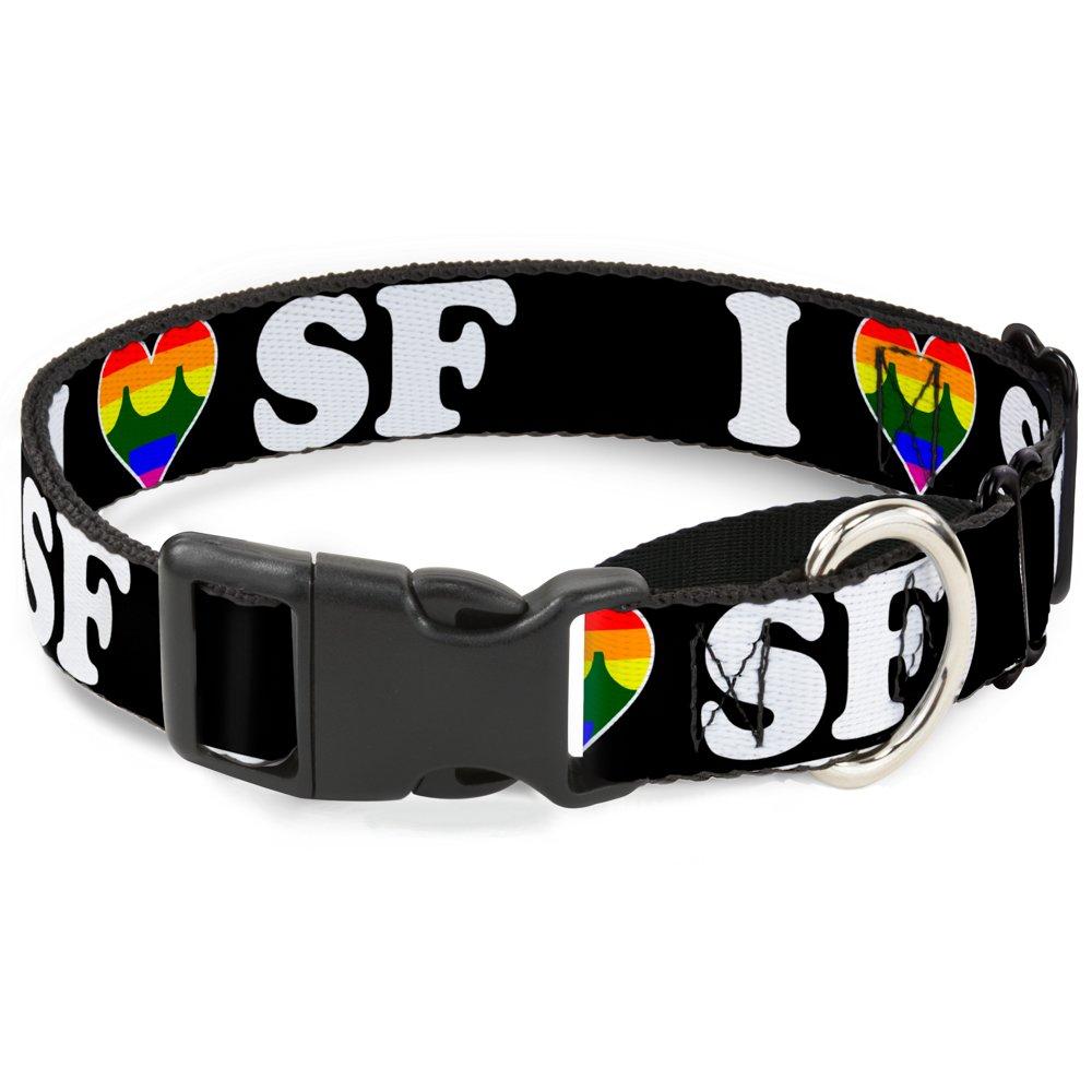 Buckle-Down MGC-W30963-WS I Heart Bridge  Sf Black White Rainbow Martingale Dog Collar, Small