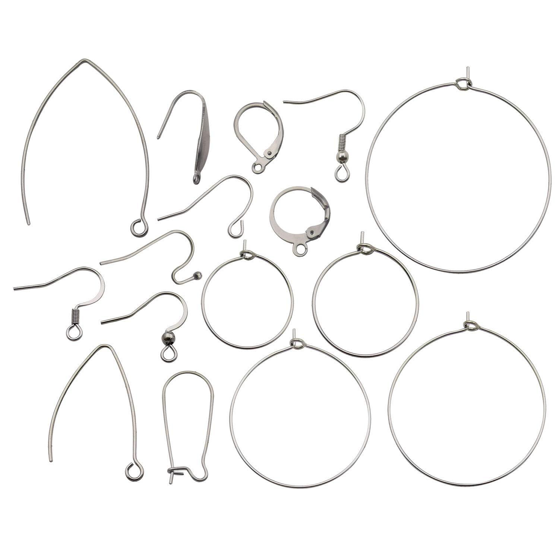 160pcs Mix Style Stainless Steel Dangle Earring French Wire Hooks Earring Hooks Findings for DIY Jewellery Making Earrings Findings M325 by ilovediybeads