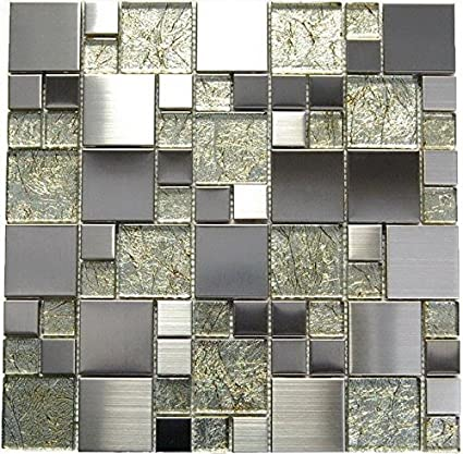 Stainless Steel Interlocking Pebble Floor Tile | Kitchen, Bathroom, and  Patio Flooring | Indoor and Outdoor Use | Natural Golden Glass Mix Mosaic|  ...