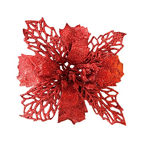 Red New Glitter Artificial Wedding Christmas Flowers Glitter Poinsettia Christmas Tree Ornaments Pack of 12 (Red)