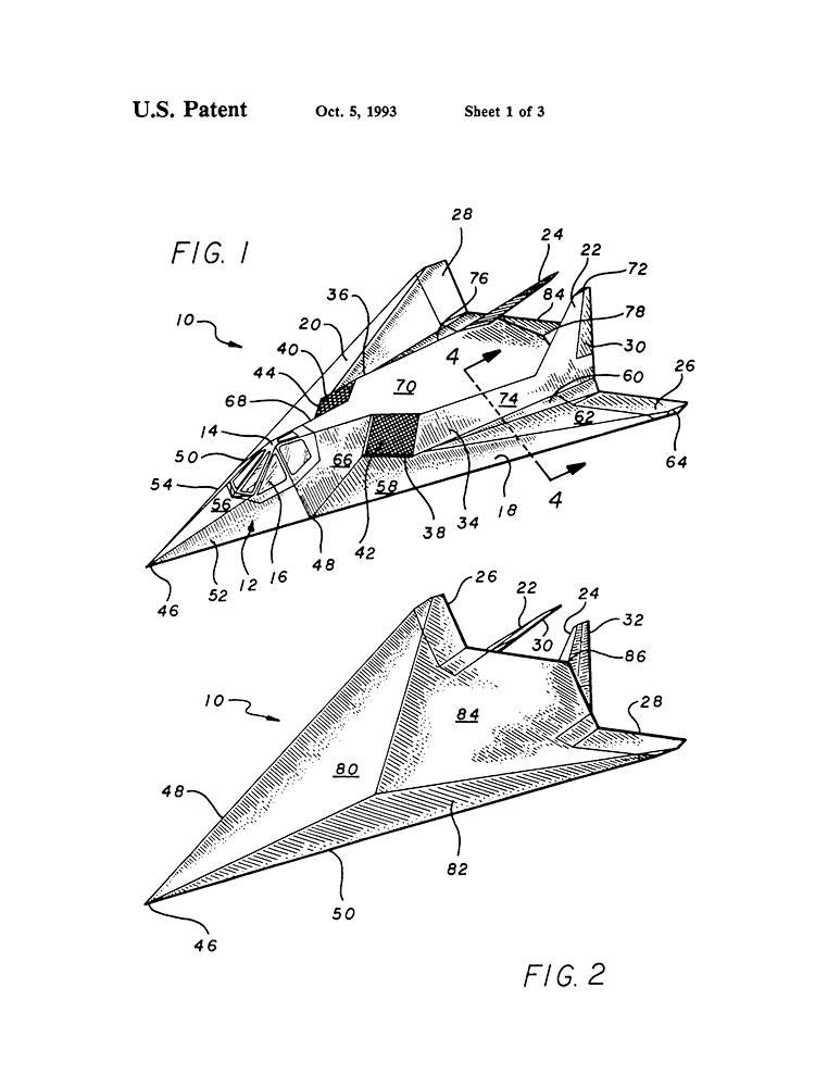 Amazon Com F 117 Stealth Airplane Patent Print White Matte 11 X