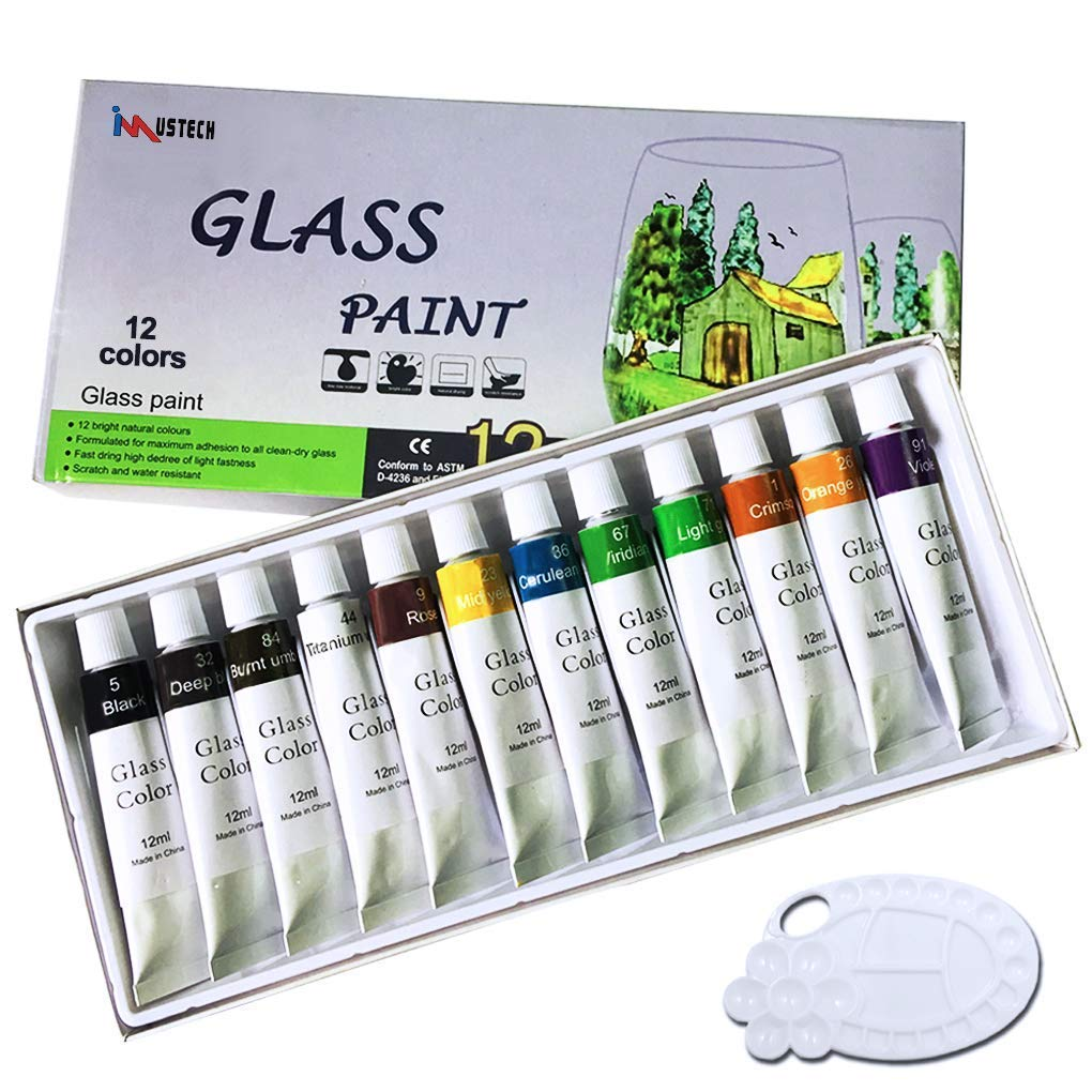 iMustech® Glass Paint Set,12 Cols Glass Paint Kit,Art Paints with Palette, Craft Paint Set, Watercolors Painting Kit for Artists, Excellent Painting Supplies for Canvas, Glass, Model, Clay & Fabric iMustech® Glass Paint Set