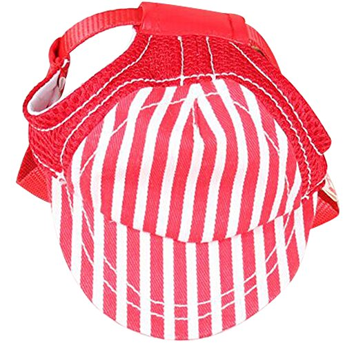 Dog Cool Stripe (BUYITNOW Pet Sun Protection Hat with Ear Holes Adjustable Stripe Baseball Cap for Medium Large Dog)