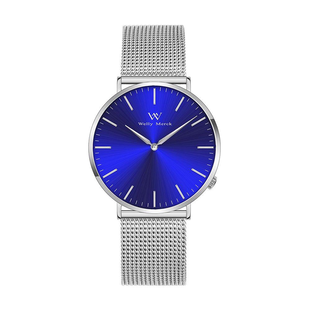 Welly Merck Women Luxury Watch Quartz Movement Sapphire Crystal Analog Wrist Watch Sliver Stainless Steel 18mm Width Mesh Interchangeable Strap 5 ATM Water Resistant