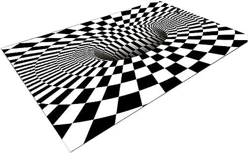 N P 3D Carpet, 3D Geometric Optical Illusion Non-Slip Rug, Area Rug Floor Mat, Anti-Skid Rug Floor Mat for Dining Room Bedroom Living Room Home Decor