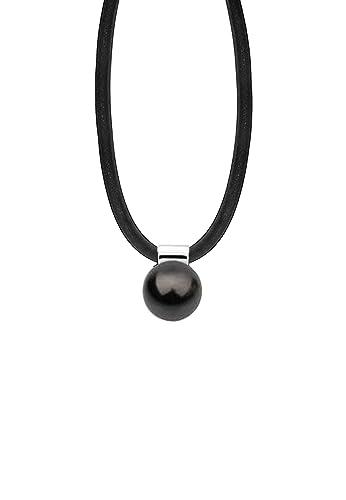 Nenalina Halskette in schwarz und Anhänger mit Swarovski-Perle Damen- Halskette und Anhängern handgefertigt   Kautschuk Kette mit  Karabinerverschluss   Länge ... 85d6fab0a0