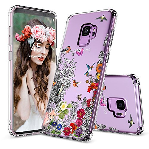 Galaxy S9 Case,Galaxy S9 Clear Case, MOSNOVO Floral Humming Bird Transparent Clear Design Hard Case with Shockproof Protective Back Case Cover for Samsung Galaxy S9 (2018) (Bits Bird Treats)