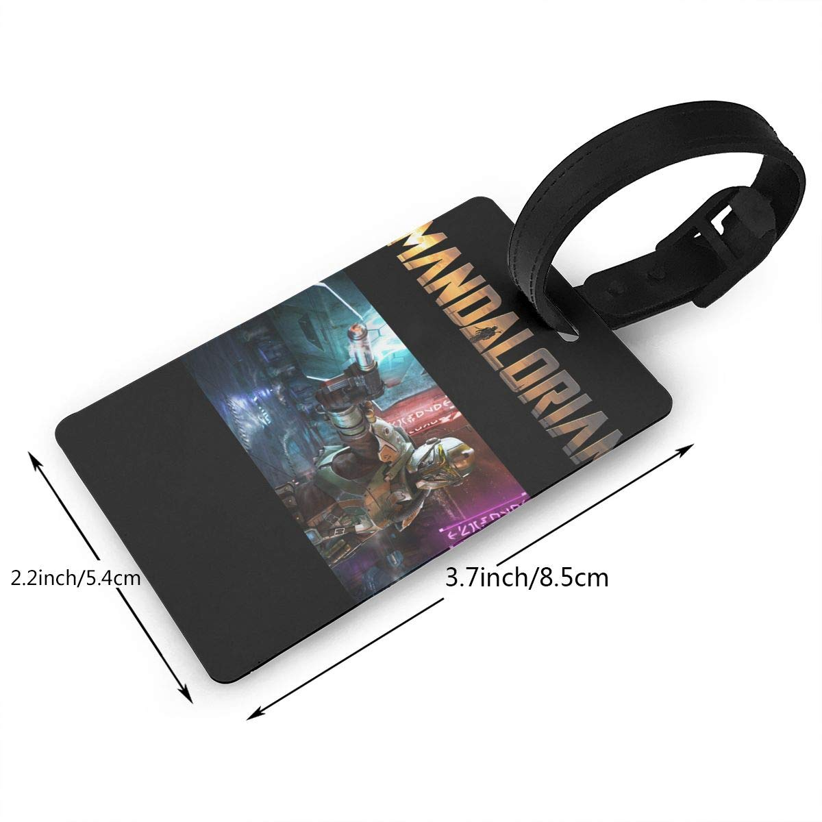 Hushuxiapp Large Mandalorian Complete Printed Design PVC Luggage Tag Travel Suitcase ID Labels Accessories Leather Wristband