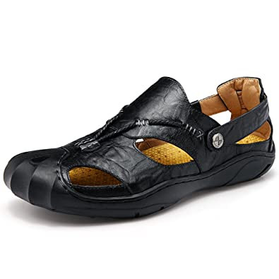 a2f29a137bdb CEKU Men s Closed Toe Outdoor Leather Walking Athletics Waterproof  Comfortable Casual Fisherman Sandals Water Shoes Black