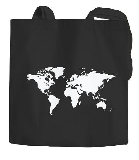 Algodón Funda mapa del mundo World Map Bolsa de tela bolsa bolsa yute algodón Autiga®, Weltkarte Schwarz, 2 lange Henkel