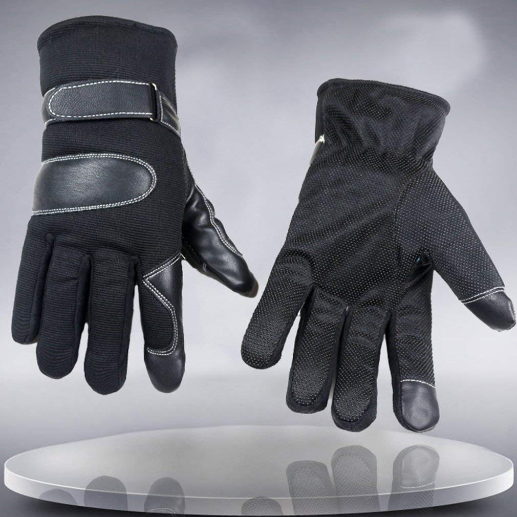 Men Winter Riding Gloves Thickened Skiing Gloves Breathable Plus Velvet Motorcycle Gloves with Screen Touch Function Lamica