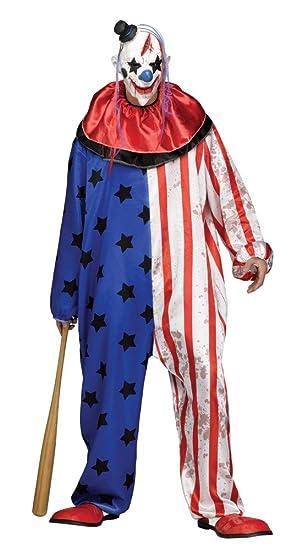 shoperama Evil Payaso Hombre Disfraz de Mono con Estrellas Incluye máscara Horror Killer Halloween Talla L