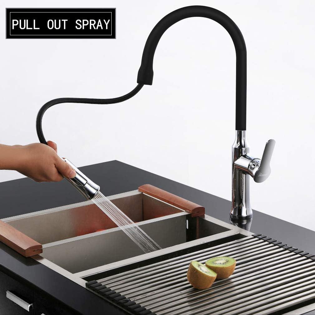 PHASAT Grifo Cocina Negro Extra/íble 360/° Rotacion Grifer/ía Fregadero Agua Fr/ía y Caliente Lat/ón Grifo Monomando con Ducha KB07E