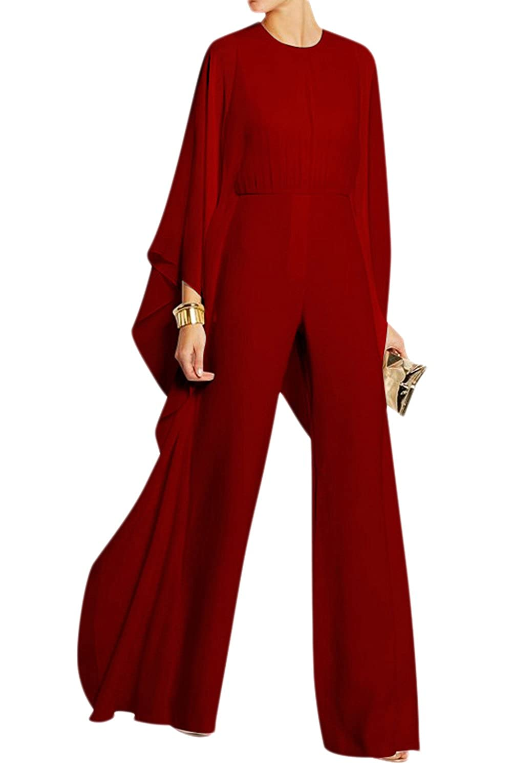 Mupoduvos Women Casual Solid Bell Sleeve Loose Chiffon Jumpsuit Palazzo Pants Overall CANZ1791
