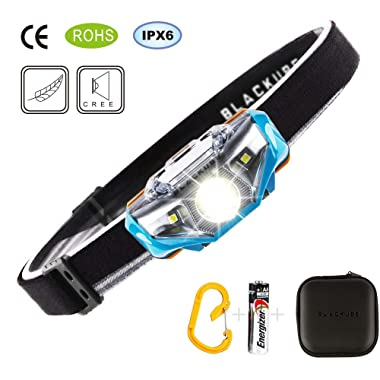 Lightest Ultra Bright Portable LED Headlamp (Only 1.69Oz),7 Lighting Modes,IPX6 Waterproof,Best Headlight for Camping,Running,Hiking and Kids,1AA Battery included (Blue)