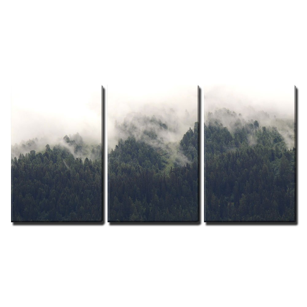 wall26 – 3 Piece Canvas Wall Art – Landscape of Trees Forest in Mist – Modern Home Decor Stretched and Framed Ready to Hang – 24 x36 x3 Panels