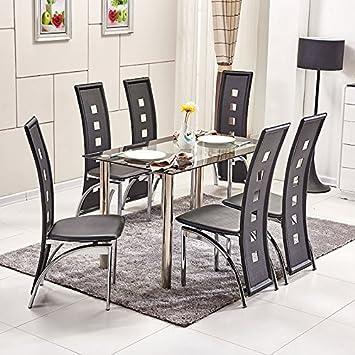OSPI® 6 x Noir Dossier Haut Simili Cuir Chaises de Salle à Manger avec  rectangulaire 2d5728593050