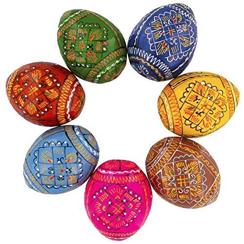 (Set of 7 Wooden Ukrainian Easter Eggs)