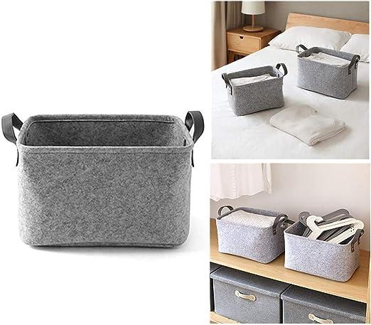 Filzkorb, als Wäschekorb oder zur Aufbewahrung von Spielsachen, grau, S