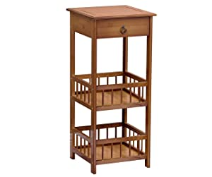 Bamboo Side Table 3-Tier Bedside Couch Sofa Chairside End Table with Drawer Multipurpose Home Furniture