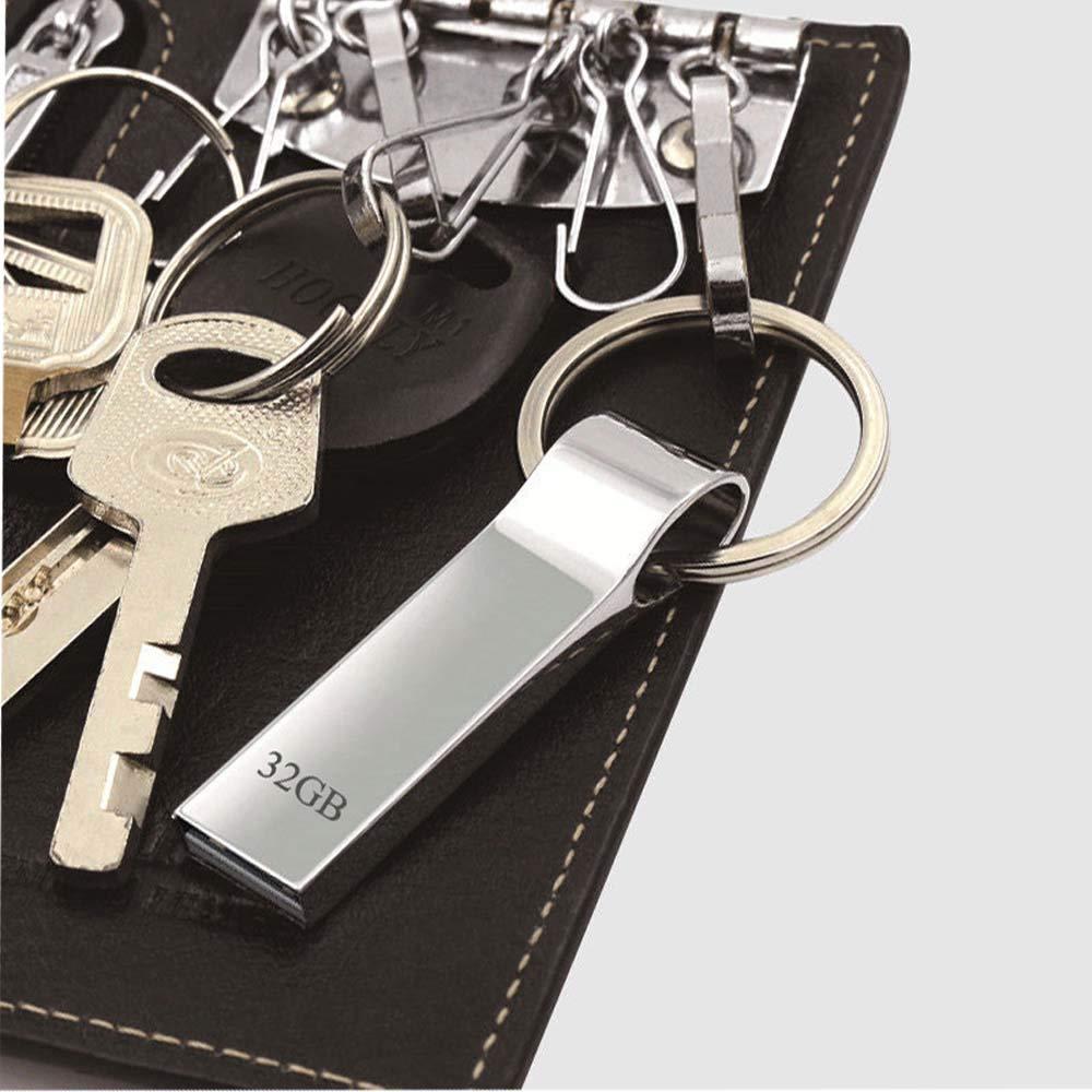32gb Trancoss Memoria USB 32GB Pendrive Flash Drive Aluminio USB 2.0 Memory Stick Impermeable con Anillo Colgante