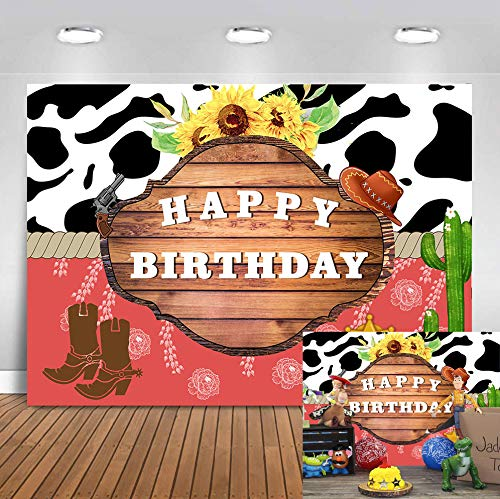 Art Studio 7x5ft Wild West Rodeo Cowboy Theme Birthday Backdrop Western Cowgirl Adventure Photography Background Cactus Sunflower Rustic Wood Kids Party Cake Table Decoration Photo Studio Props Vinyl ()
