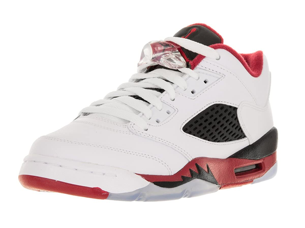 online retailer 3bfcf 60c95 Amazon.com   Nike Jordan Kids Air Jordan 5 Retro Low (GS) White Fire Red  Black Basketball Shoe 5.5 Kids US   Fashion Sneakers