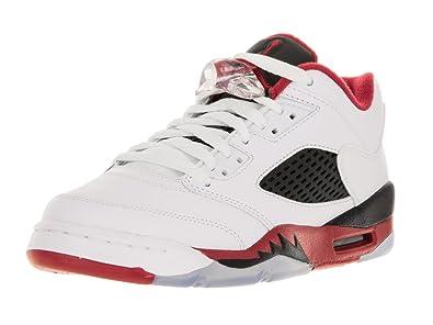 separation shoes cf088 309b3 Nike Jordan Kids Air Jordan 5 Retro Low (GS) White/Fire Red/Black  Basketball Shoe 5.5 Kids US